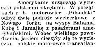 Amerykanie urządzają wycieczki polskiemi okrętami // Dziennik Poznański. - 1929, nr 105, s. 3