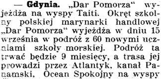 """[""""Dar Pomorza"""" wyjeżdża na wyspy Taiti] // Gazeta Kartuska. - 1929, nr 105, s. 3"""