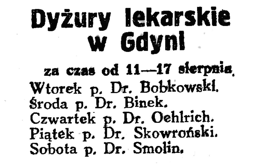Dyżury lekarskie w Gdyni za czas od 11-17 sierpnia // Gazeta Gdańska. - 1929, nr 159, s. 4