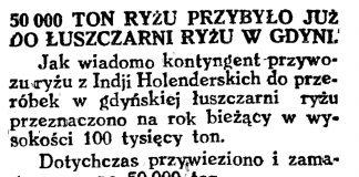 50 000 ton ryżu przybyło już do łuszczarni ryżu w Gdyni // Gazeta Gdańska. - 1929, nr 159, s. 4