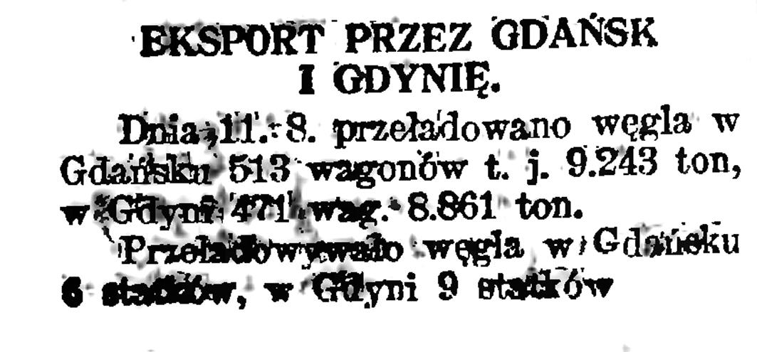 Eksport przez Gdańsk i Gdynię // Gazeta Gdańska. - 1929, nr 159, s. 4