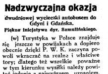 Nadzwyczajna okazja dwudniowej wycieczki autobusem do Gdyni i Gdańska. Piękna inicjatywa dyr. Samulińskiego // Gazeta Gdańska. - 1929, nr 159, s. 6