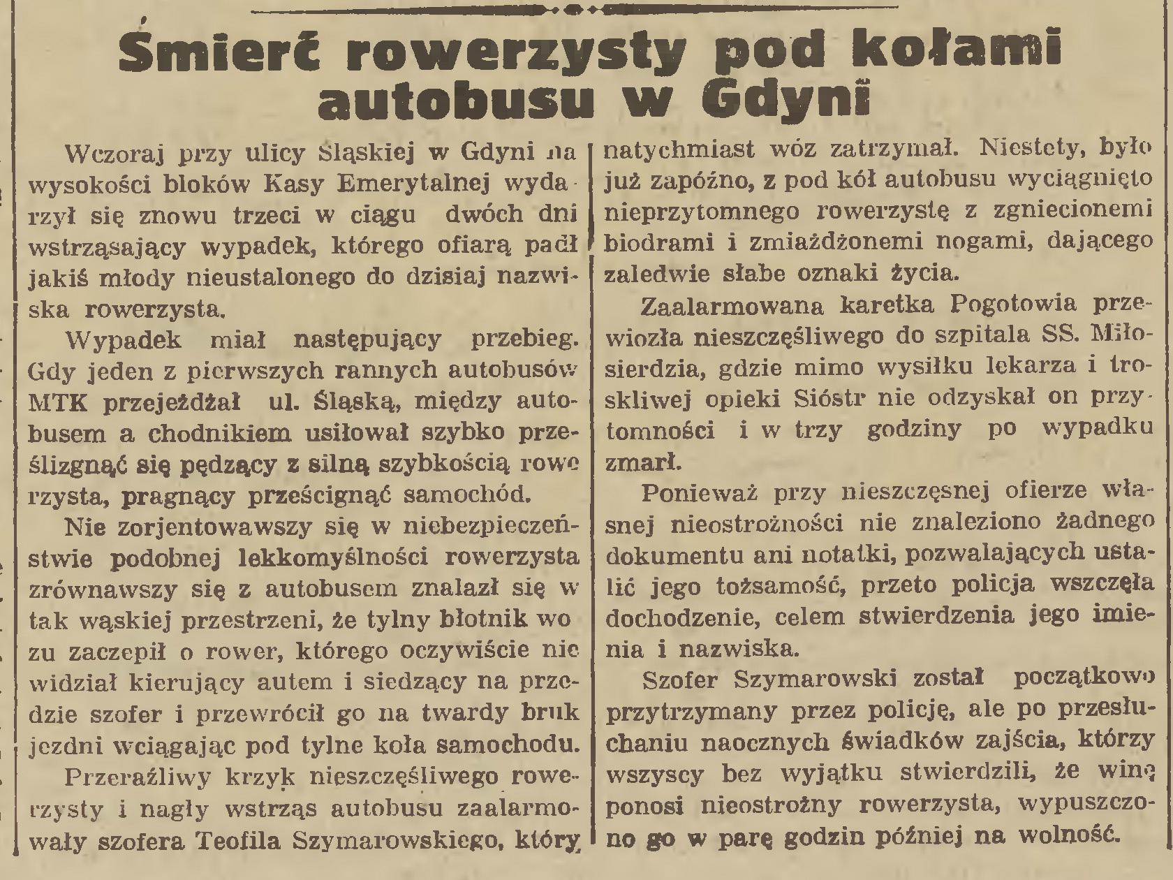 Śmierć rowerzysty pod kołami autobusu w Gdyni // Gazeta Gdańska. -1935, nr 127, s. 2