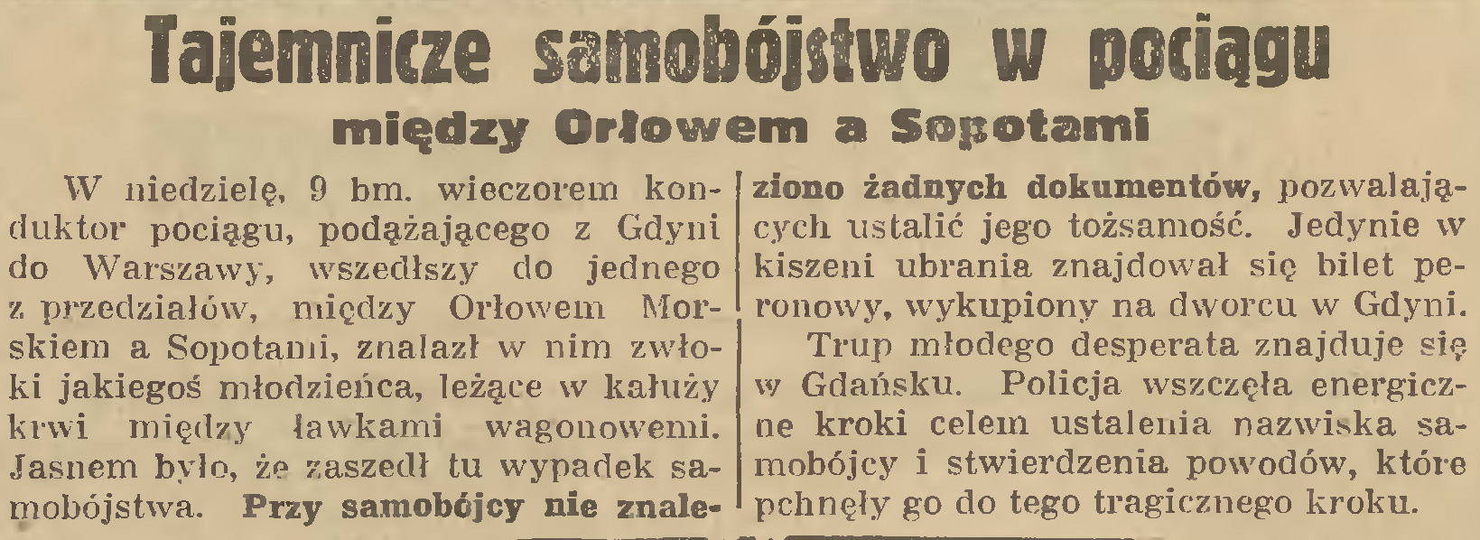 Tajemnicze samobójstwo w pociągu między Orłowem a Sopotami // Gazeta Gdańska. - 1935, nr 129, s. 7