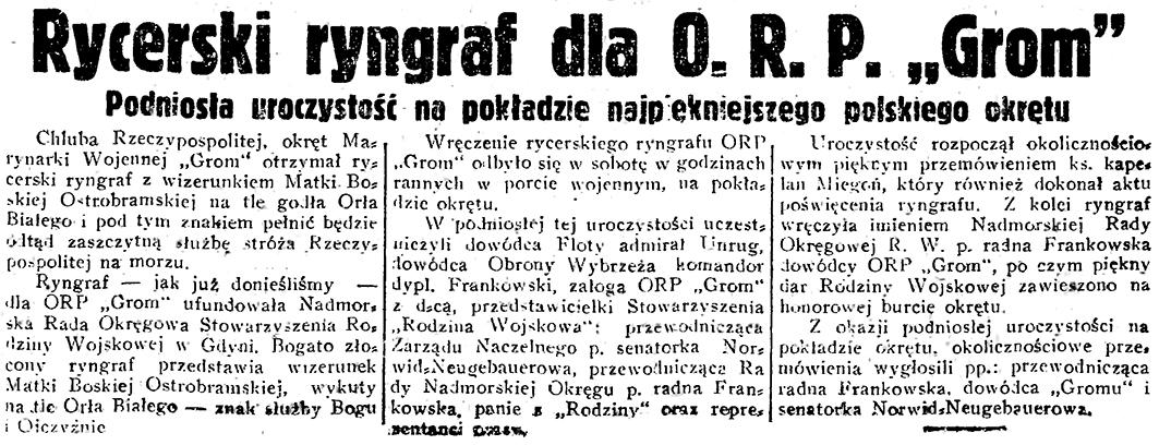 Rycerski ryngraf dla O. R. P.