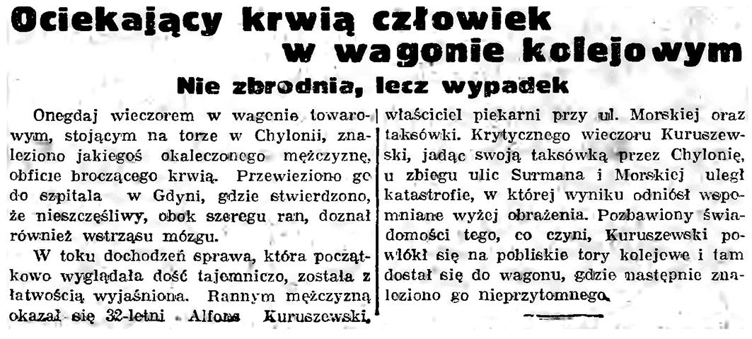 Ociekający krwią człowiek w wagonie kolejowym. Nie zbrodnia, lecz wypadek // Gazeta Gdańska. - 1938, nr 236, s. 12