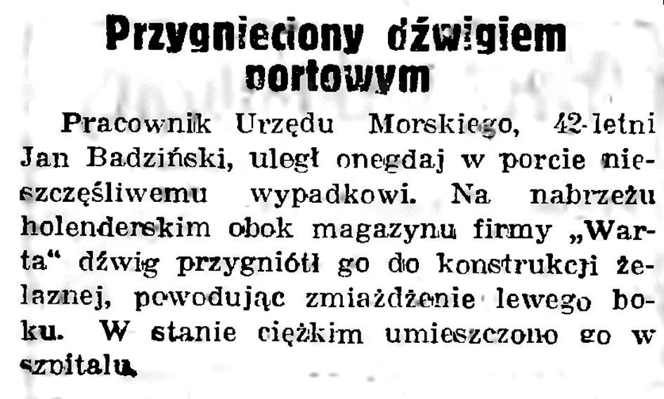 Przygnieciony dźwigiem portowym // Gazeta Gdańska. - 1938, nr 236, s. 12