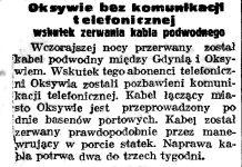 Oksywie bez komunikacji telefonicznej wskutek zerwania kabla podwodnego // Gazeta Gdańska. - 1938, nr 244, s. 7
