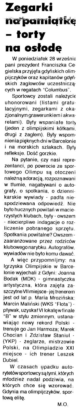 Zegarki na pamiątkę - torty na osłodę // Kurier Gdyński. - 1992, nr 1, s. 1