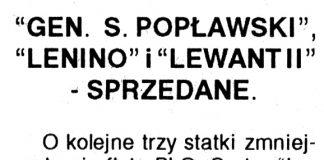 """""""Gen. S. Popławski"""", """"Lenino"""" i """"Lewant II"""" - sprzedane // Kurier Gdyński. - 1992, nr 1, s. 1, 2"""