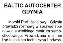 Baltic Autocenter Gdynia // Kurier Gdyński. - 1992, nr 1, s. 1