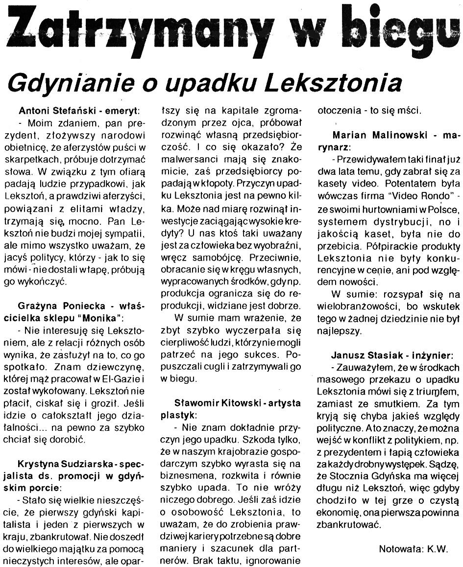 Zatrzymany w biegu. Gdynianie o upadku Leksztonia // Kurier Gdyński. - 1992, nr 1, s. 1
