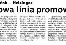 Nowa linia promowa. Gdańsk - Helsingor / (as) // Kurier Gdyński. - 1992, nr 1, s. 1