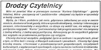 Drodzy Czytelnicy / Krystyna Weiss-Strąk // Kurier Gdyński. - 1992, nr 1, s. 1