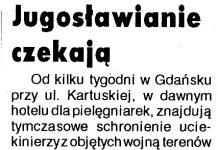 Jugosłowianie czekają // Kurier Gdyński. - 1992, nr 1, s. 2