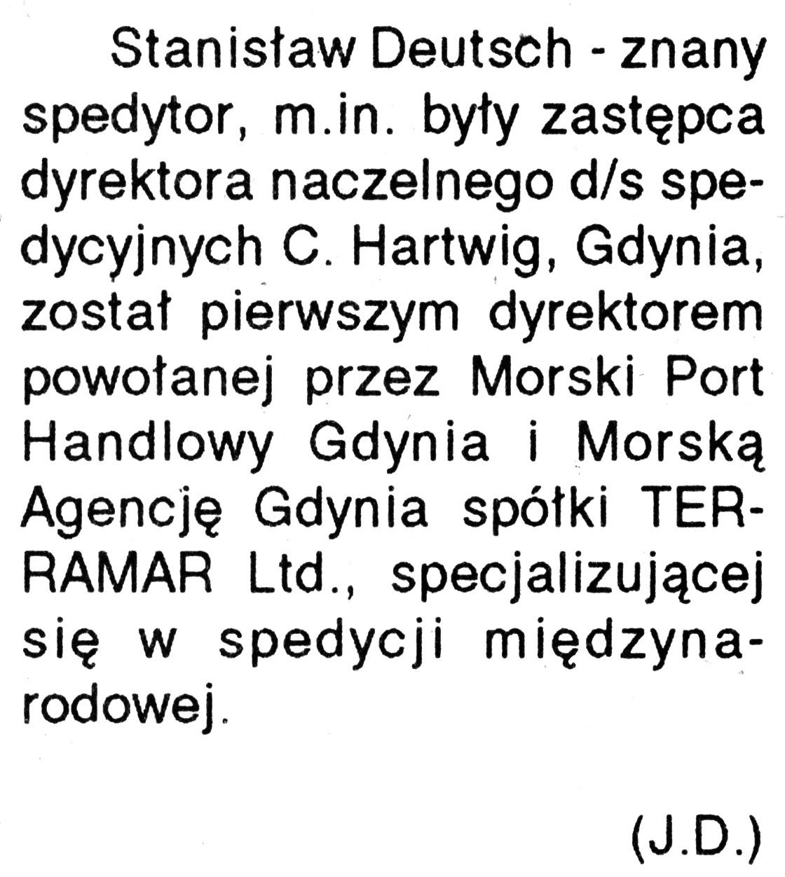 [Stanisław Deutsch ...] / (J.D.) // Kurier Gdyński. - 1992, nr 1, s. 2