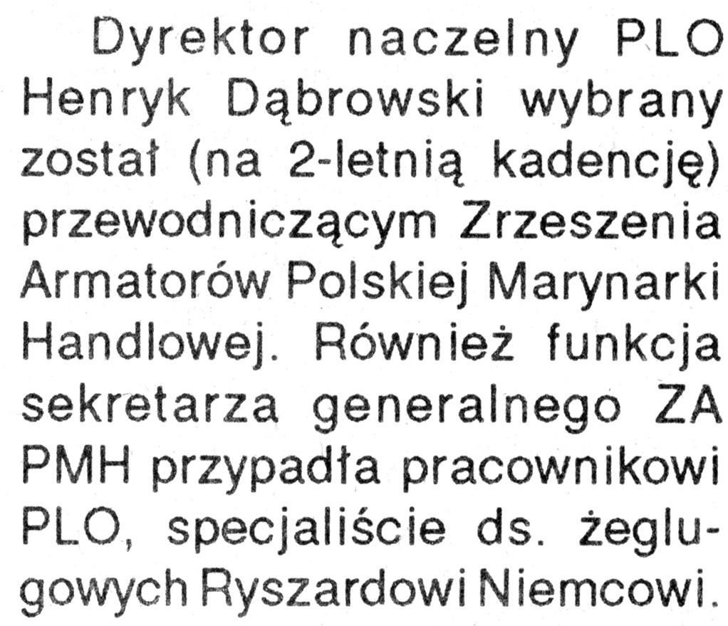 [Dyrektor naczelny PLO Henryk Dąbrowski ...] // Kurier Gdyński. - 1992, nr 1, s. 2