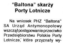 """Baltona"" skarży Porty Lotnicze / oprac. J.D. // Kurier Gdyński. - 1992, nr 1, s. 2"
