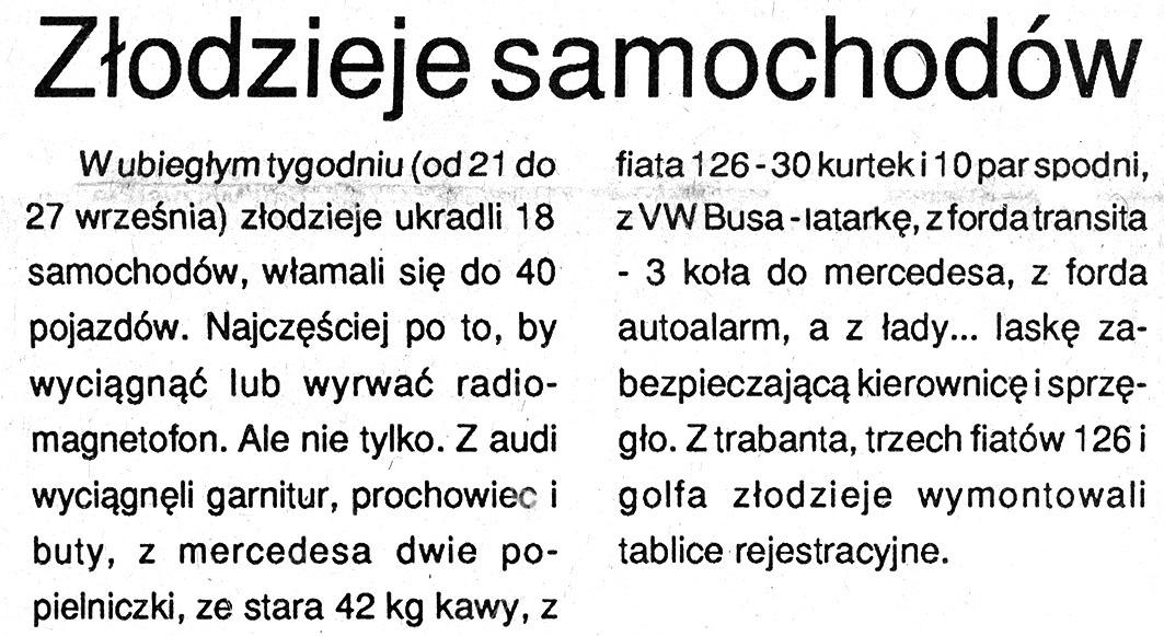 Złodzieje samochodów // Kurier Gdyński. - 1992, nr 1, s. 5