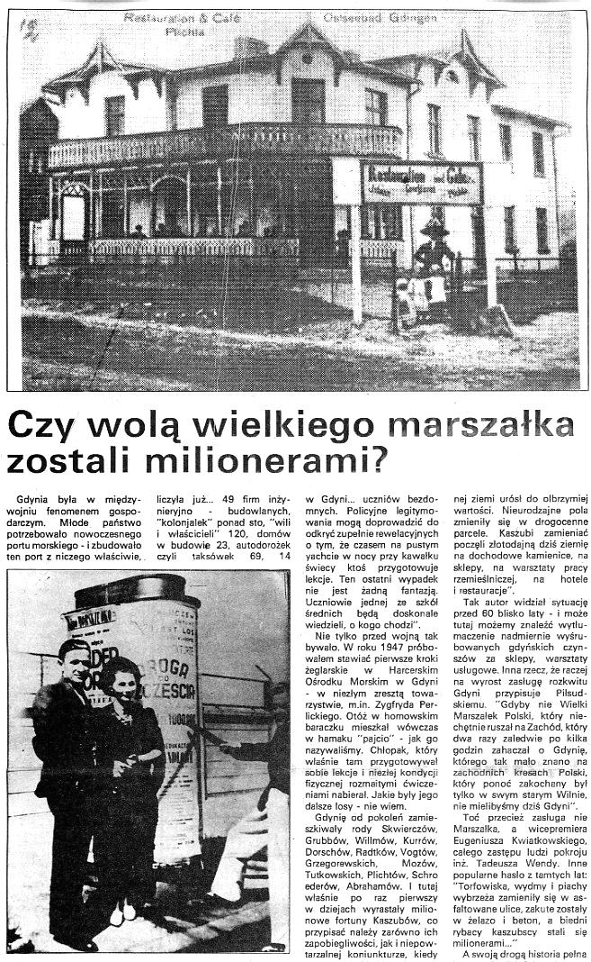 Czy wolą wielkiego marszałka zostali milionerami? / Andrzej Kiszkis // Kurier Gdyński. - 1992, nr 1, s. 7, 8