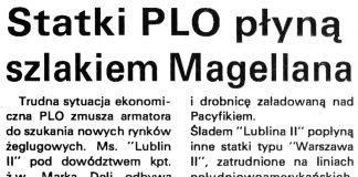 Statki PLO płyną szlakiem Magellana / (AS) // Kurier Gdyński. - 1992, nr 1, s. 7