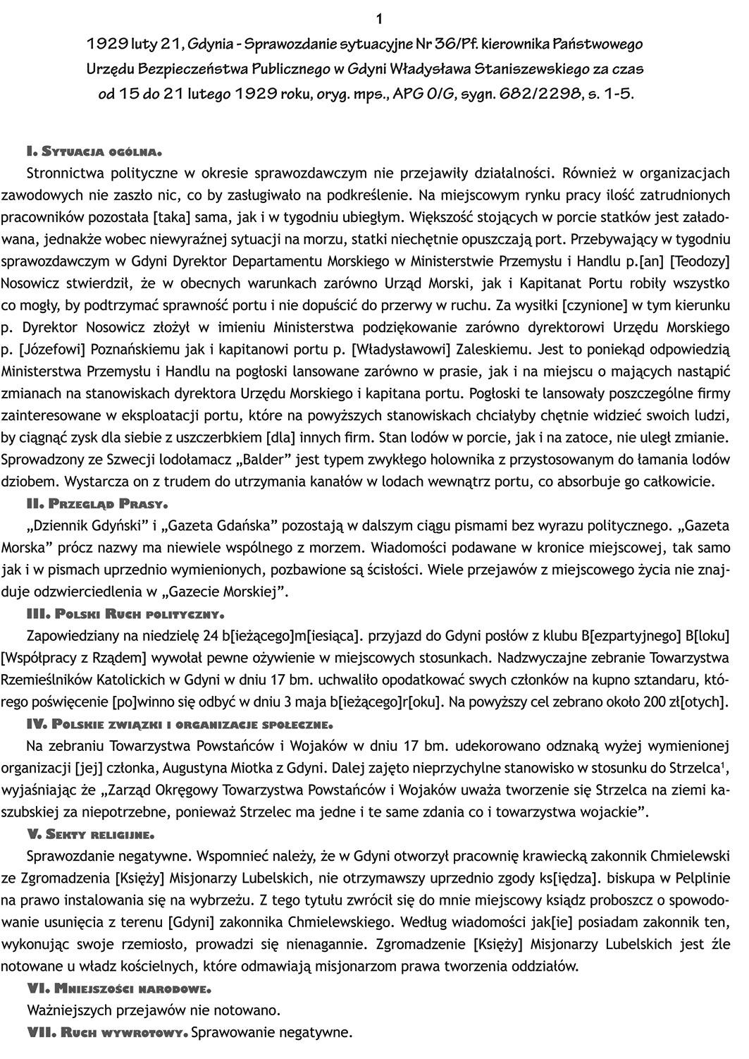 1929 luty 21, Gdynia - Sprawozdanie sytuacyjne Nr 36/Pf. kierownika Państwowego Urzędu Bezpieczeństwa Publicznego w Gdyni Władysława Staniszewskiego za czas od 15 do 21 lutego 1929 roku, oryg/ mps., APG O/G, sygn 632/2298, s. 1-5