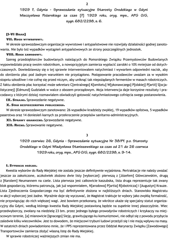 1929 ? Gdynia - Sprawozdanie sytuacyjne Starosty Grodzkiego w Gdyni Mieczysława Pożarskiego za czas [?] 1929 roku, oryg. mps., APG O/G, sygn. 682/2298, s. 6