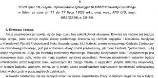 1929 lipiec 18 Gdynia - Sprawozdanie sytuacyjne Nr Nr II.BB.5 Starosty Grodzkiego w Gdyni za czas od 11 do 17 lipca 1929 roku, oryg. mps., APG O/G, sygn. 682/2288, s. 29-35