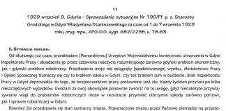 1929 wrzesień 9, Gdynia - Sprawozdanie sytuacyjne Nr 190/Pf. p.o. Starosty Grodzkiego w Gdyni Władysława Staniszewskiego za czas od 1 do 7 września 1929 roku, oryg. mps. APG O/G, sygn. 682/2298, s. 78-83