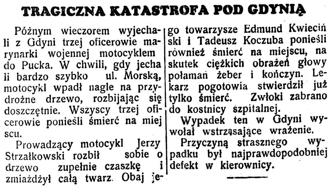 Tragiczna katastrofa pod Gdynią // Nasz Przegląd. - 1939, [z dnia 24 maja], s. 13
