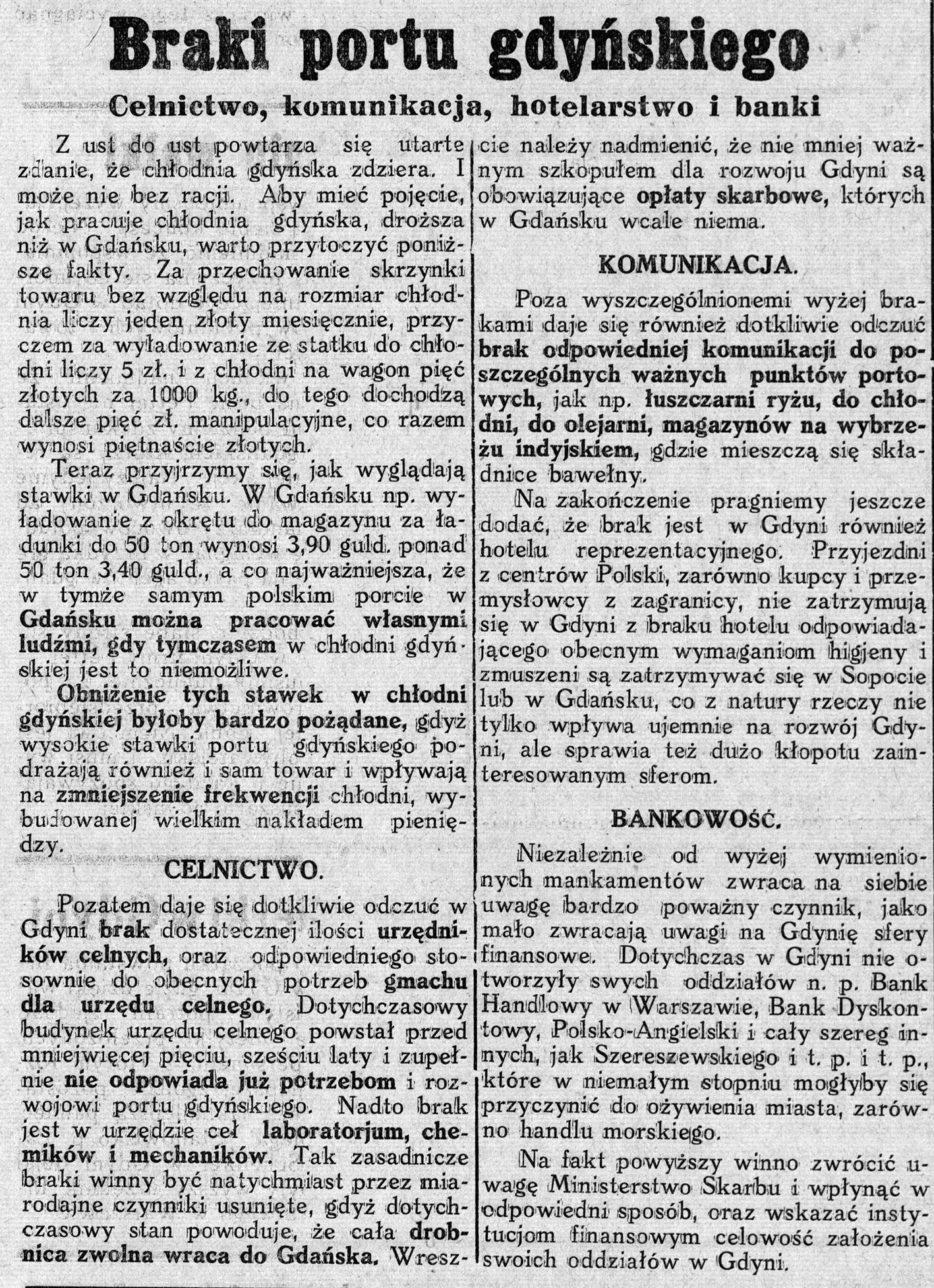 Braki portu gdyńskiego. Celnictwo, komunikacja, hotelarstwo i banki // Nowa Epoka. - 1933, nr 6/8, s. 4
