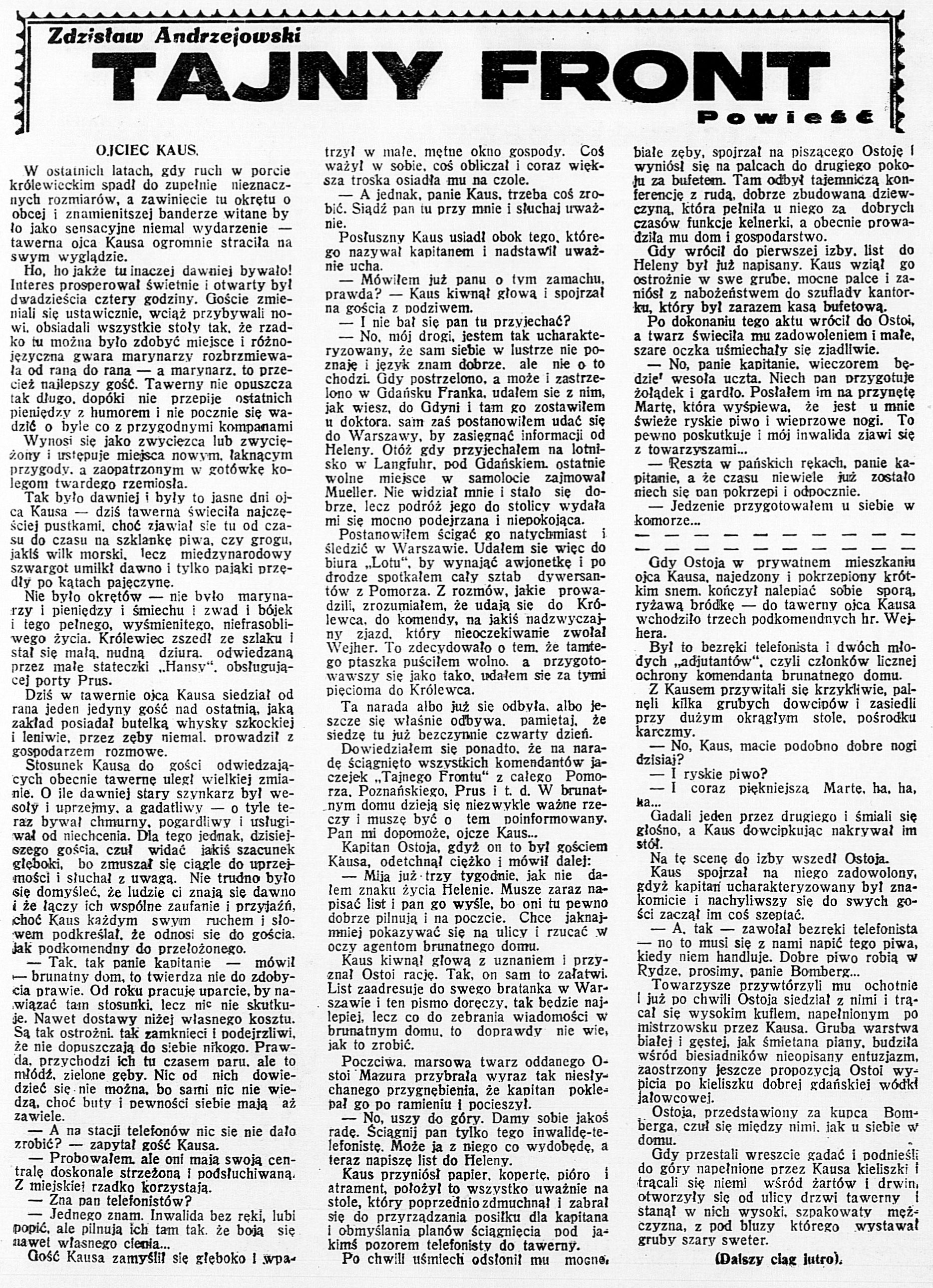 Tajny front / Zdzisław Andrzejewski // Dzień Dobry. - 1932, nr 170, s. 6