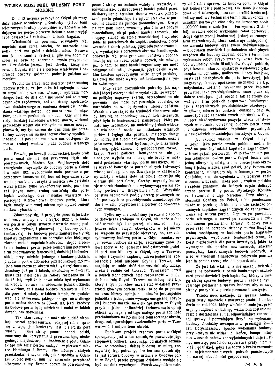 Polska musi mieć własny port morski / P.B. // Tygodnik Ilustrowany. - 1923, nr 37, s. 592