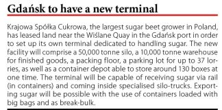 Gdańsk to have a new terminal // Baltic Transport Journal. - 2017, nr 6, s. 10