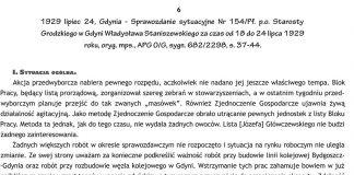 1929 lipiec 24, Gdynia - Sprawozdanie sytuacyjne Nr 154/Pf. p.o. Starosty Grodzkiego w Gdyni Władysława Staniszewskiego za czas od 18 do 24 lipca 1929 roku, oryg. mps., APG O/G, sygn. 682/2298, s. 37-44