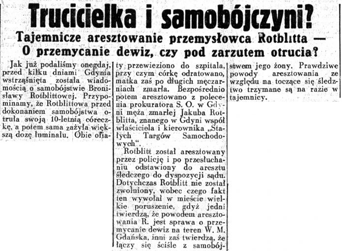 Trucicielka i samobójczyni? Tajemnicze aresztowanie przemysłowca Rotblitta - O przemycanie dewiz, czy pod zarzutem otrucia // Dziennik Ilustrowany. - 1937