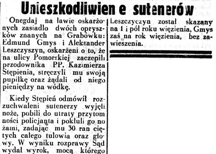 Unieszkodliwienie sutenerów // Dziennik Ilustrowany. - 1937
