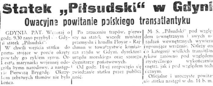 Piłsudski powitanie polskiego transatlantyka