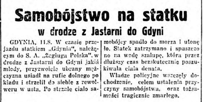 Samobójstwo na statku w drodze z Jastarni do Gdyni // ABC. - 1936, nr 230, s. 5