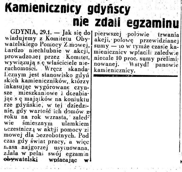 Kamienicznicy gdyńscy nie zdali egzaminu 1937 Dziennik Ilustrowany