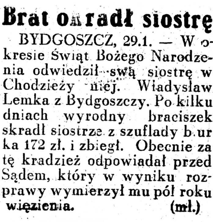 Brat okradł siostrę / Dziennik Ilustrowany 1937