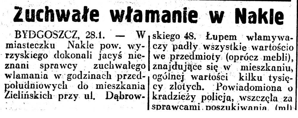 Zuchwałe włamanie w Nakle// Dzień Dobry 1937, nr 30