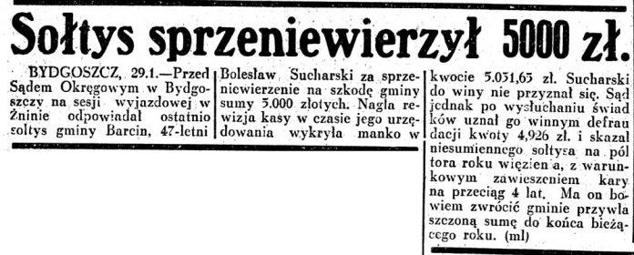 Sołtys sprzeniewierzył 5000 zł / Dziennik Ilustrowany 1937 nr 30