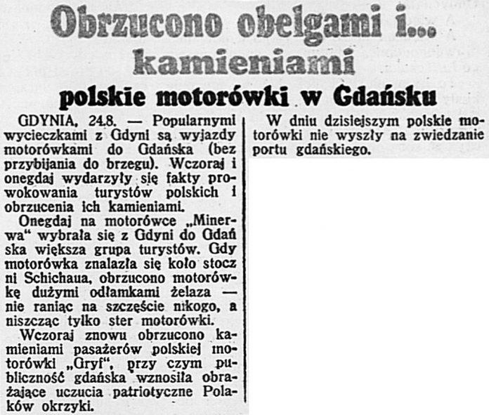 Obrzucono obelgami i... kamieniami polskie motorówki w Gdańsku // Dzień Dobry. - 1939, nr 234