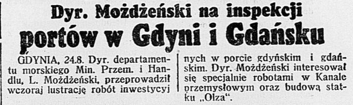Dyr. Możdżeński na inspekcji portów w Gdyni i Gdańsku // Dzień Dobry. - 1939, nr 234