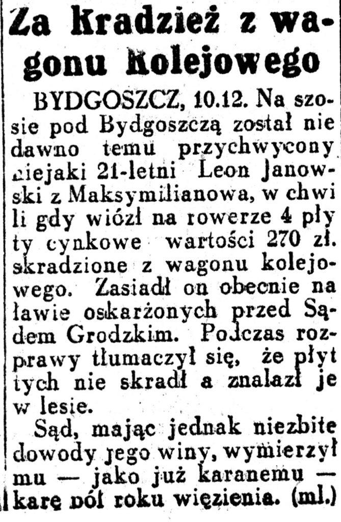 Za kradzież z wagonu kolejowego // Dziennik-Ilustrowany-1936,-nr-27,-s.-3