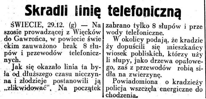 Skradli linię telefoniczną / (g) // Dziennik Ilustrowany. -1926, nr 44, s. 3