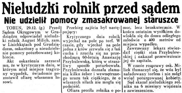 Nieludzki rolnik przed sądem. Nie udzielił pomocy zmasakrowanej staruszce / (g) // Dziennik Ilustrowany.- 1936, nr 44, s. 3