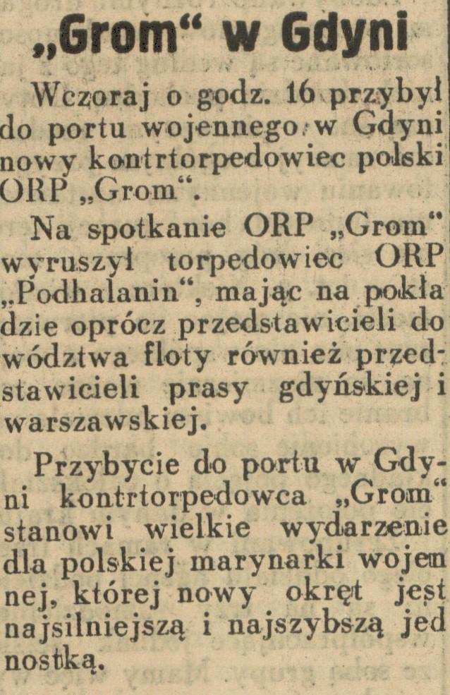 ORP GROM w Gdyni // Dziennik Ilustrowany 1939