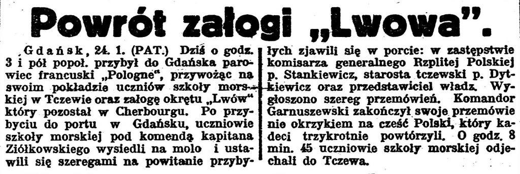 """Powrót załogi """"Lwowa"""" Gazeta Bydgoska 1924, nr 22, s. 1"""